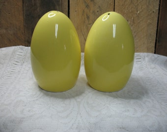 Yellow egg shaped vintage salt & pepper shakers