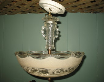 Chandelier glass press Style new years 1950/60 ceiling restore. Lighting fixture.