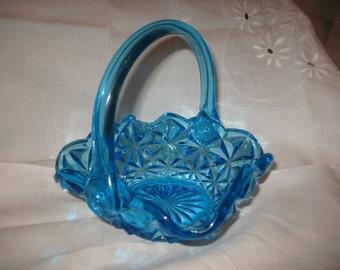 Square blue 1970 Monticello Indiana glass basket