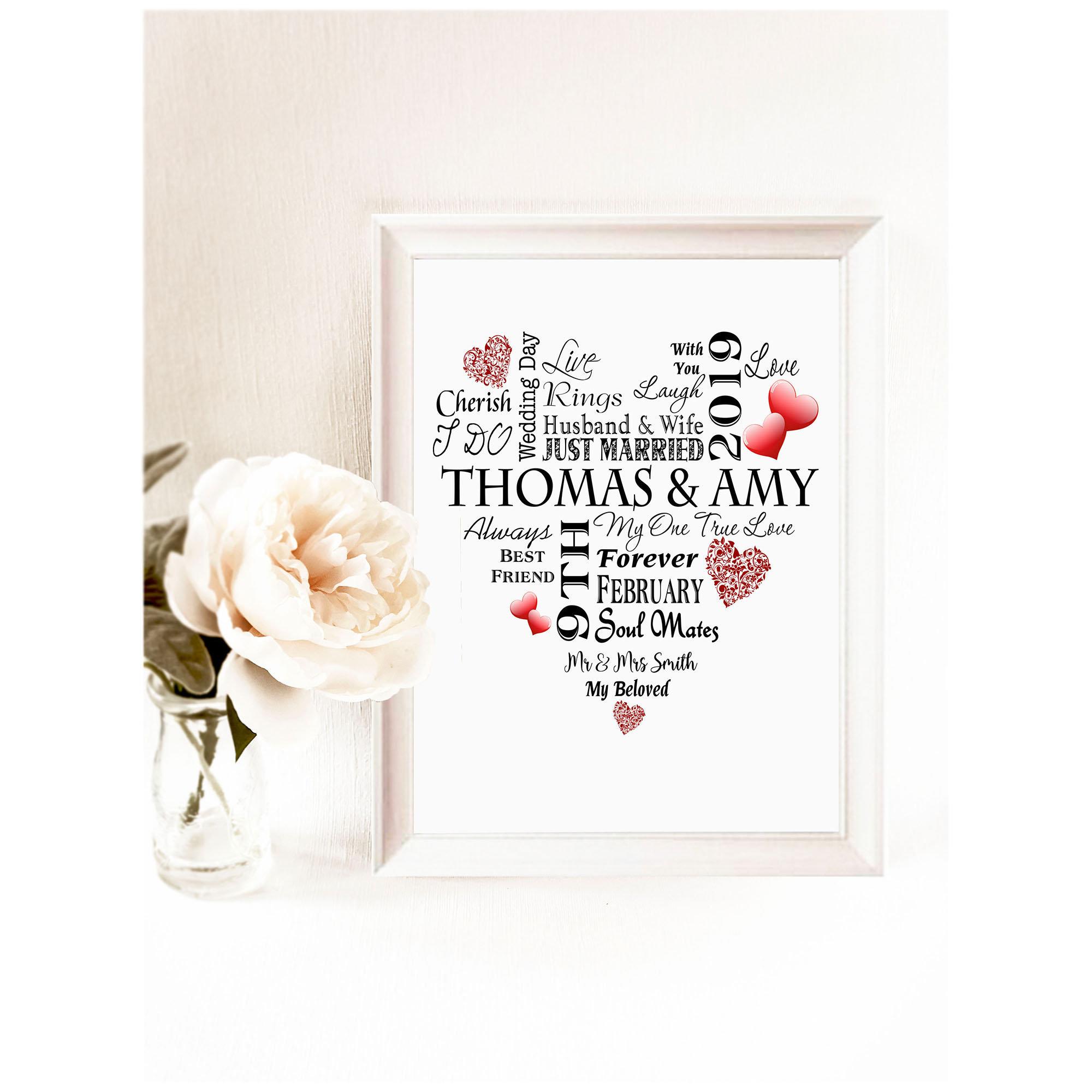 Handmade Wall Plaque Personalised Wedding Gift Word art Bride /& Groom Mr /& Mrs
