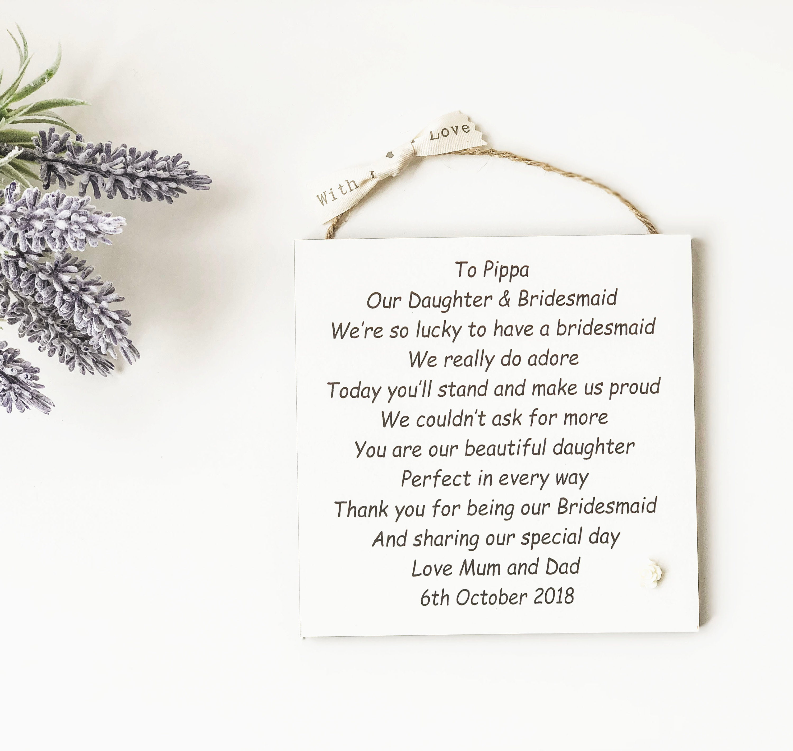 Lovely Daughter plaque handmade great gift present can be personalised