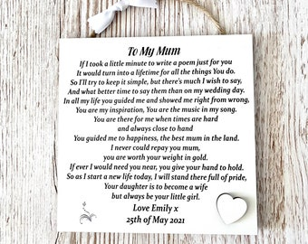 Mother of The Bride Gift, Wedding Thank you Gift, Mother of The Bride Wall Plaque from Bride, Gift for Mum on Wedding Day, Memorable Gift