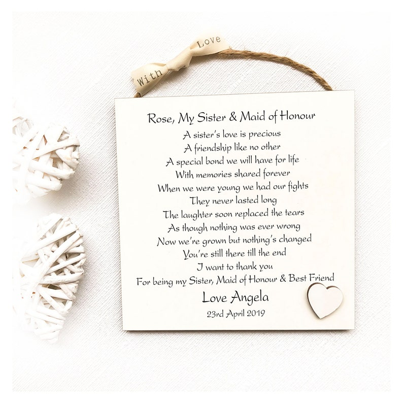 Thank You For Sister On Wedding Day Gift Idea Personalised Etsy