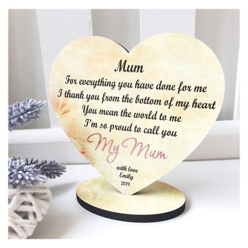 Mothers Day Gift Personalised Wooden Plaque Display For Mum Mummy Mother Special Keepsake Freestanding Heart W342