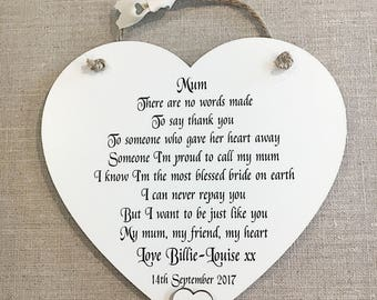 Personalised Mother of the Bride Gift Thank You Wedding Heart Plaque W264