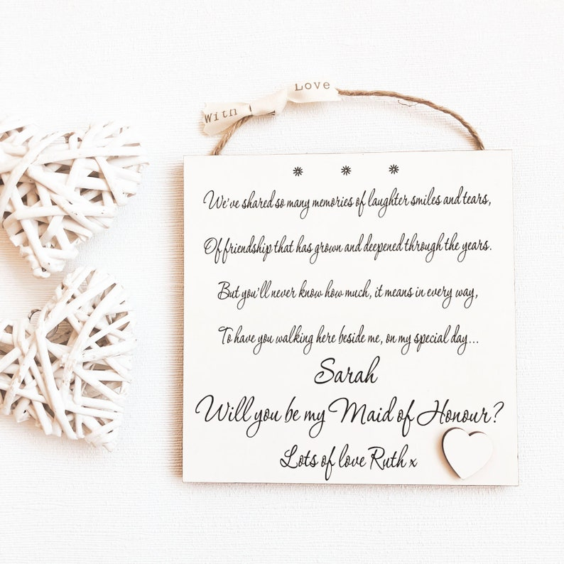 Will You Be My Bridesmaid Gift Personalised Wooden Plaque For Maid Of Honour Wedding Poem Invitation Gift Wall Plaque W92 With Asking W92