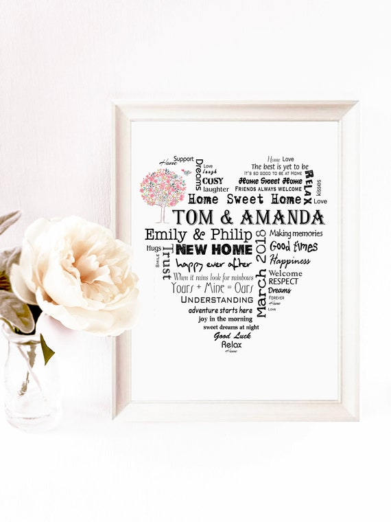 New Home Gift Idea Personalised Housewarming Print Word Art Wall Poster Card Digital Pdf File First Home Gift Inspiration P142