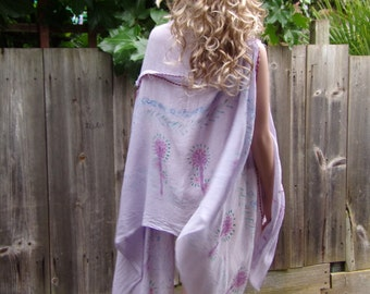 VIOLET SUMMER TOP Blouse Handmade Beach Ponchos  Cotton Tunic Modern Hand Painted Hand Dyed Fashion Trendy Hippie Boho