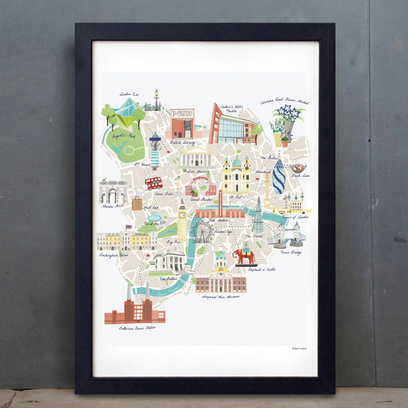 Illustrated Map of London  A2  A3  London map  Colourful image 0