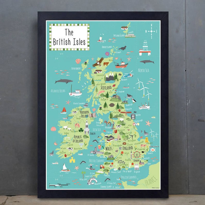 Illustrated Map of British Isles  Children's UK map  A2 image 0