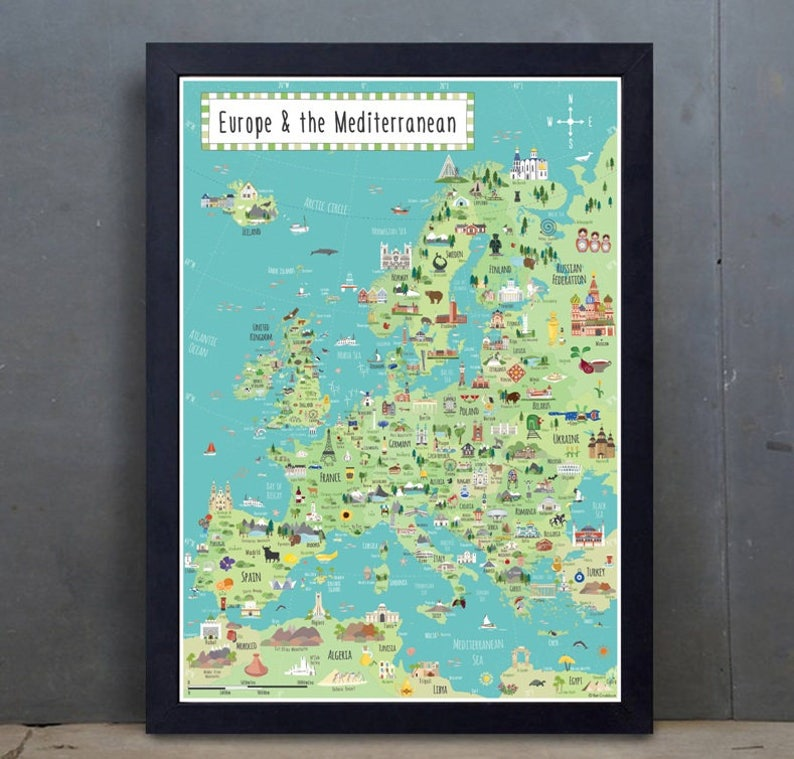 Illustrated Map Europe  Large Children's Europe map  A2 image 0