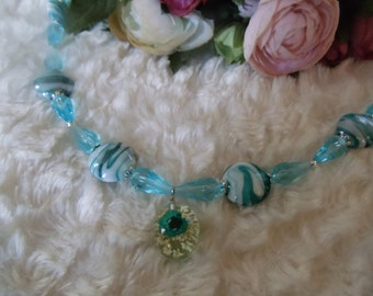 Virginia statement chain Ibiza ethnic hippie Bleu/white/silver