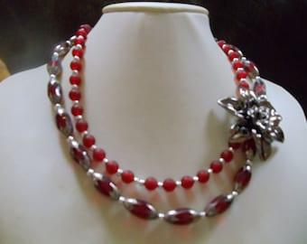 Statement necklace Helene Valerie Bordeaux