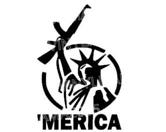 MERICA Decal - NRA Sticker - Gifts for Men  - Fathers Day Gift - Birthday Gifts - NRA Rights - 'Merica - Guns