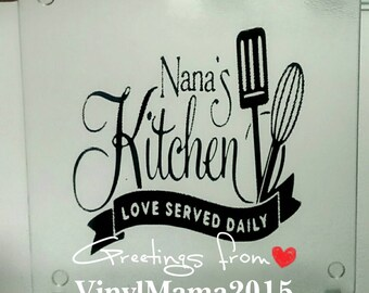 Mums Kitchen Love Served Daily Add name Vinyl Sticker for Frame or Wall Art