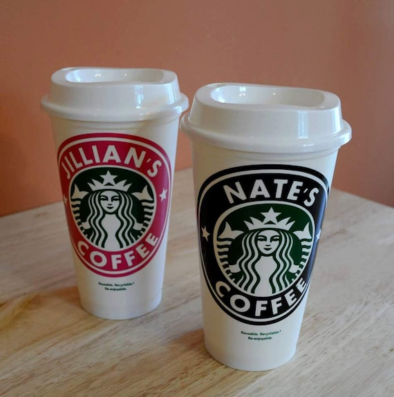 Monogrammed Personalized Starbucks Logo Custom DECAL with 16oz Cup