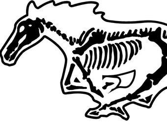 fox body art etsy 71 Mustang Notchback ford mustang skeleton decal fox body 5 shelby cobra sticker horse