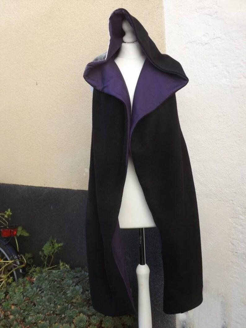 dd4948189af Echarpe Capuche féerique fée cape noire polaire  coton violet