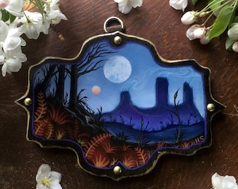 Forest Landscape Hand Painted by Heather Shinn on a homemade Wood Plaque