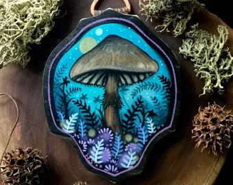 Mushroom landscape  Hand Painted by Heather Shinn on a homemade Wood Plaque