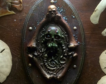 Pirate Skull with Tentacles  on Homemade Wood Plaque