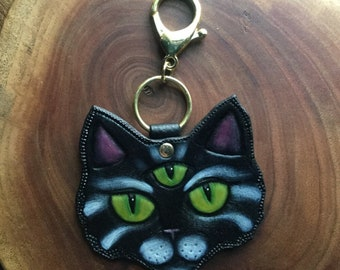 Three eyed cat keychain