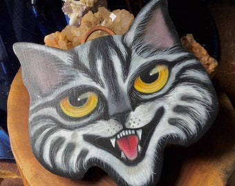 Black and White Cat Face Hand Painted on Homemade Wood Plaque