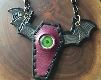 Flying Coffin Eyeball Bib Necklace made of hand tooled Leather