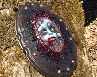 Zombie Alien Baby from Mars on Homemade Wood Plaque