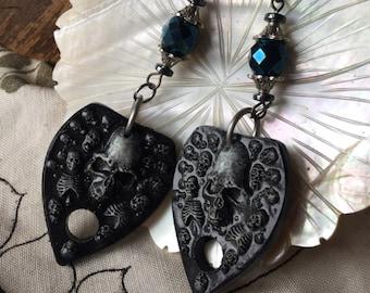 Planchette Earrings Hand Painted Cast Resin