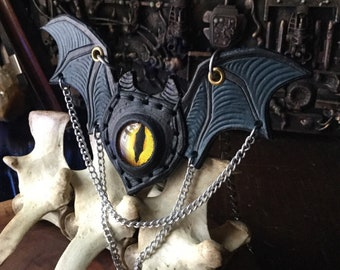 Flying  Eyeball Bib Necklace made of hand tooled Leather