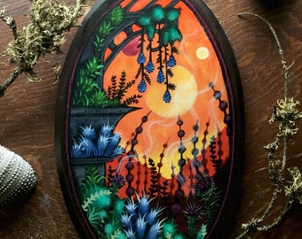 Fantasy Garden  Hand Painted by Heather Shinn on a homemade Wood Plaque