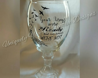 Your Wings Were Ready But Our Hearts Were Not, Hurricane Candle Holder, Glass Hurricane, Loss of Loved One Gift, Personalize Sympathy Gift