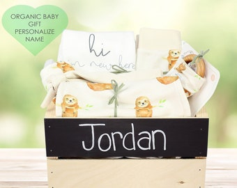 Friendly Sloth Theme - Personalized Organic Baby Gift Bundle
