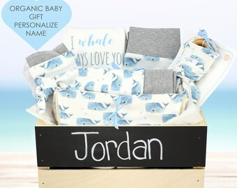 Whale Theme - Personalized Baby Boy Organic Gift Bundle