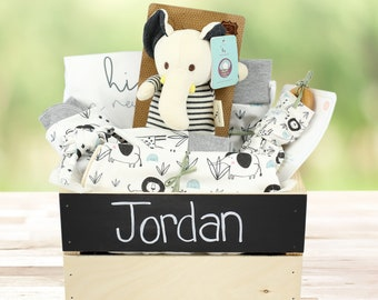 Safari Friends Theme- Personalized Organic Baby Gift Bundle