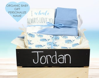 Nautical Whale Theme - Personalized Baby Boy Organic Gift Bundle