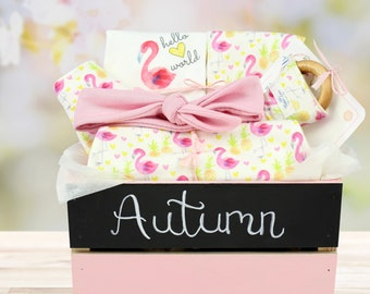 Flamingo Theme-Personalized Baby Girl Organic Gift Bundle
