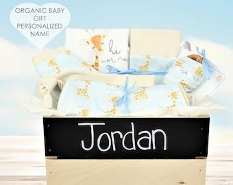 Baby Giraffe Blue Theme - Personalized Baby Boy Organic Gift Bundle