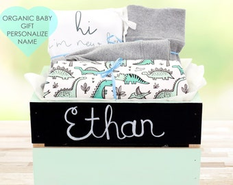 Dinosaur Theme - Personalized Baby Boy Organic Gift Bundle
