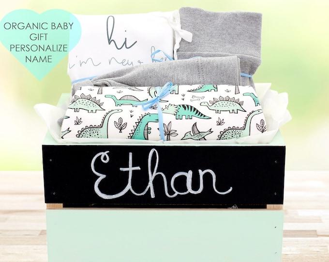 Featured listing image: Dinosaur Theme - Personalized Baby Boy Organic Gift Bundle