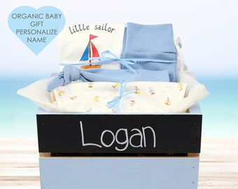 Nautical Sailboat Theme - Personalized Baby Boy Organic Gift Bundle