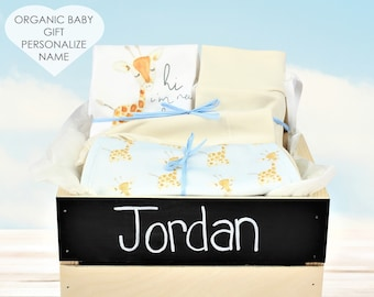 Baby Giraffe Blue Theme - Personalized Baby Boy Organic Gift Bundle