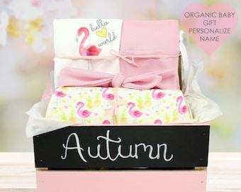 Flamingo Theme - Personalized Baby Girl Organic Gift Bundle