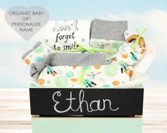 Space Theme - Personalized Baby Boy Organic Gift Bundle
