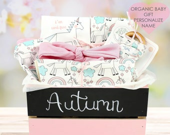 Unicorn Theme-Personalized Baby Girl Organic Gift Bundle