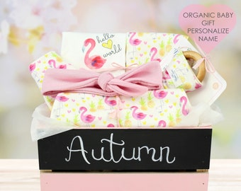 Flamingo Theme - Personalized Baby Girl Organic Gift Bundle