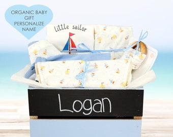 Nautical Theme - Personalized Baby Boy Organic Gift Bundle