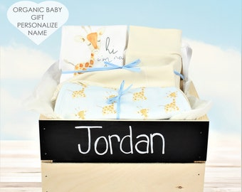 Safari Giraffe Blue Theme - Personalized Baby Boy Organic Gift Bundle