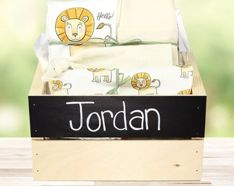 Friendly Lion Theme - Personalized Baby Boy Organic Gift Bundle